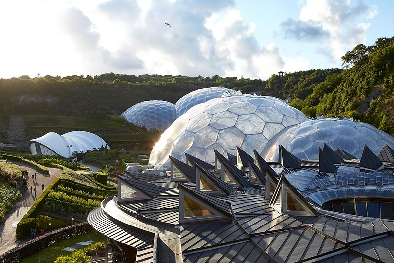 Aerial view of the Eden Project domes.