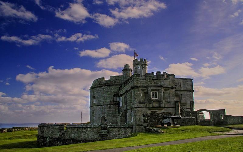 Purple skies overlook Pendennis Castle keep.