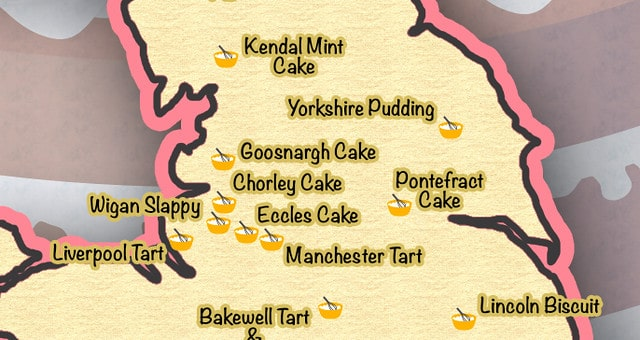 A snapshot of Kidadl's Bake Britain map showing cakes and biscuits named after British places.