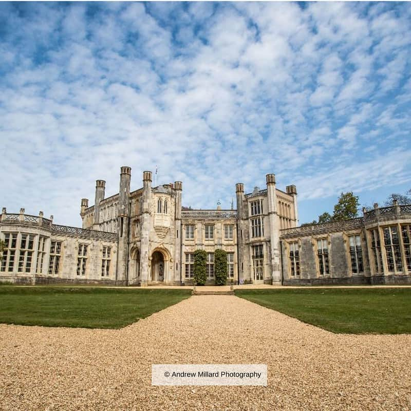View of Highcliffe Castle on a sunny day.