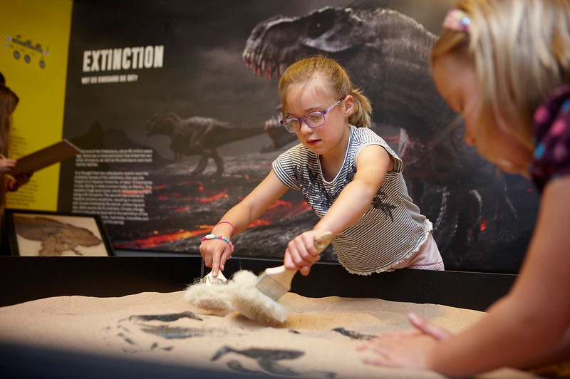A child at The Dinosaur Museum's excavation pit exhibit.