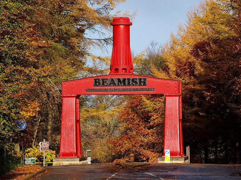 View of a huge red steam hammer at the entrance of Beamish.