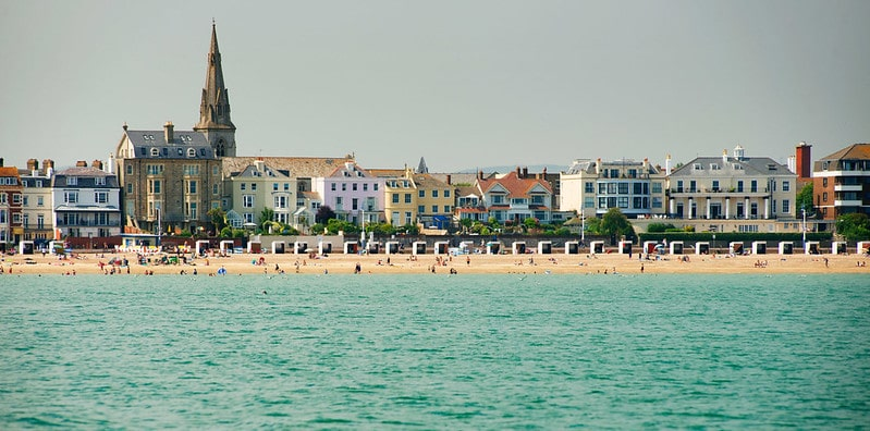 View of Weymouth Beach backed by Georgian houses.