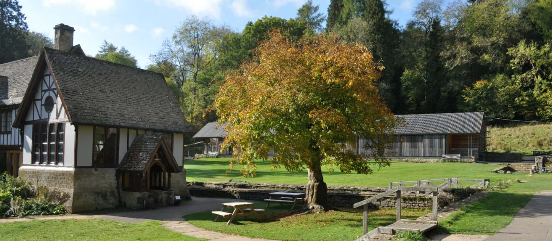 The exterior of Chedworth Roman Villa demonstrates the beautiful nature that surrounds it.