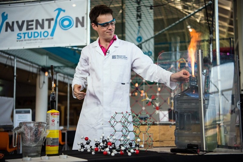 A scientist doing a demo experiment at Winchester Science Centre and Planetarium.