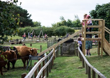 Families stand on the viewing platform to look over the Cotswolds.