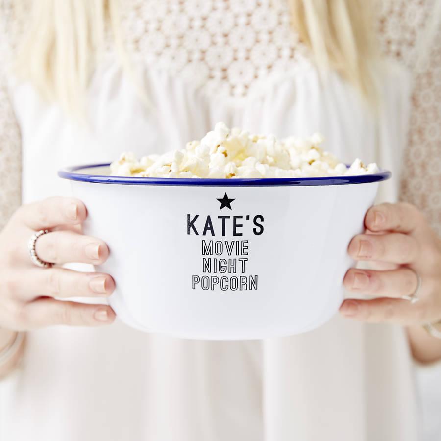 Personalised enamel coated popcorn bowl.