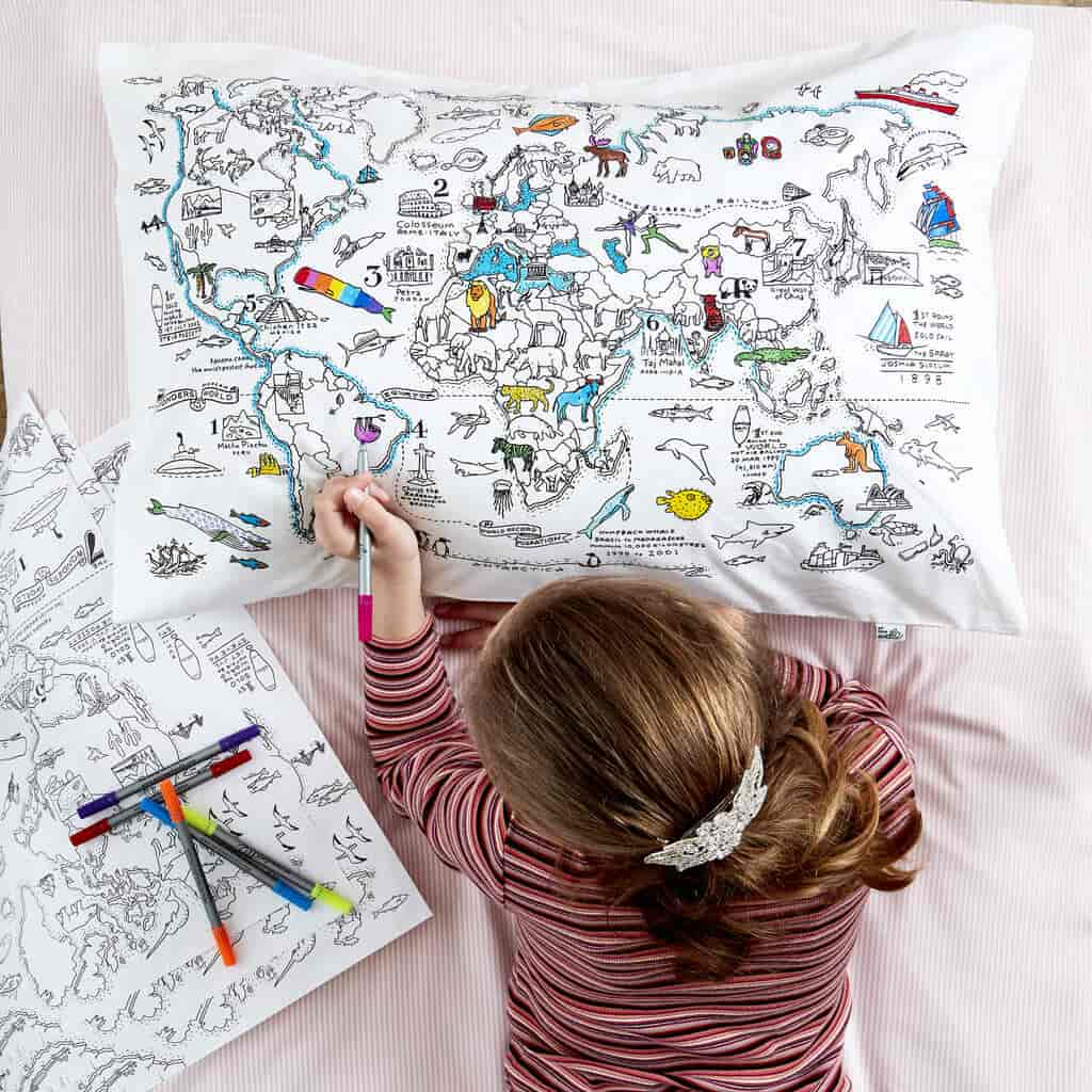 Colour in and learn on this world map pillowcase kit.