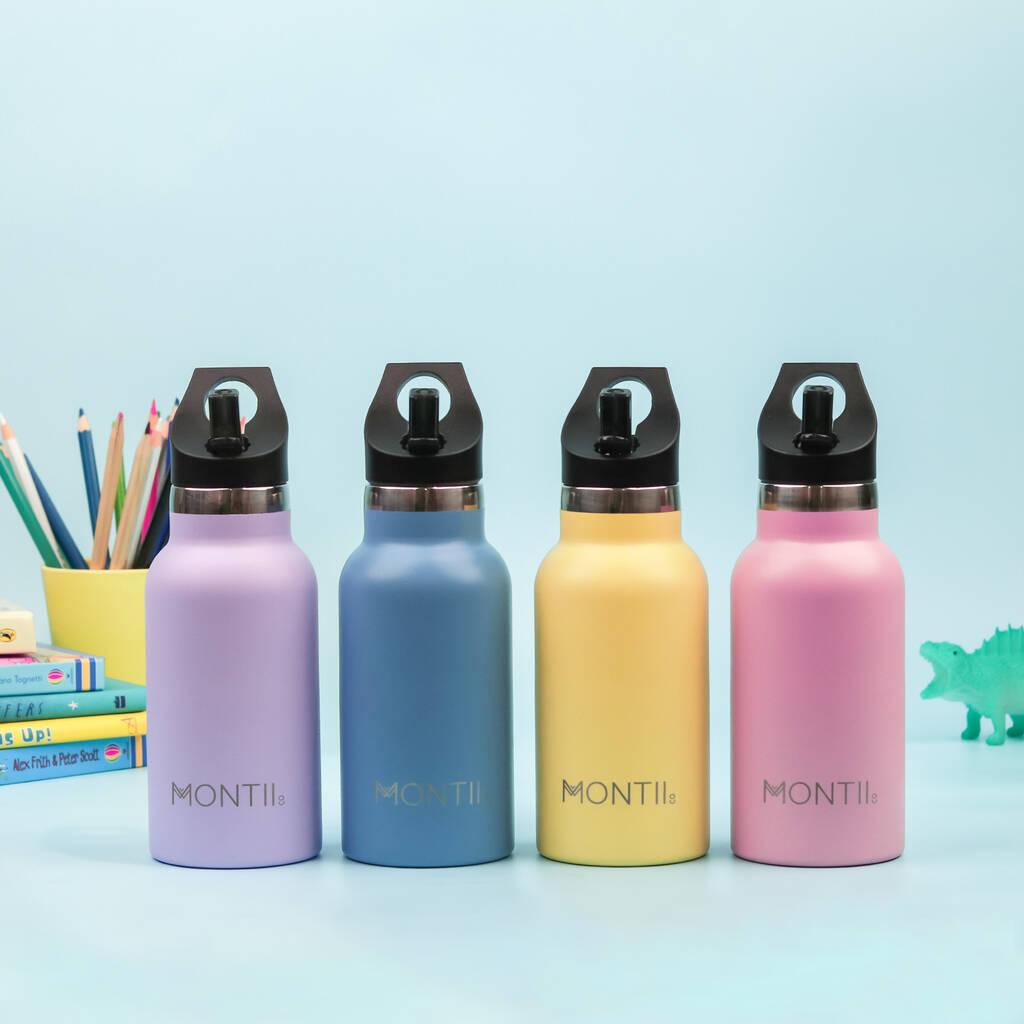 Brightly coloured, stainless steel bottles for children.