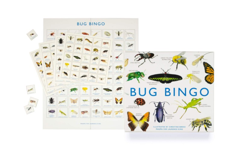 beautifully illustrated bingo game features 64 species of bugs.