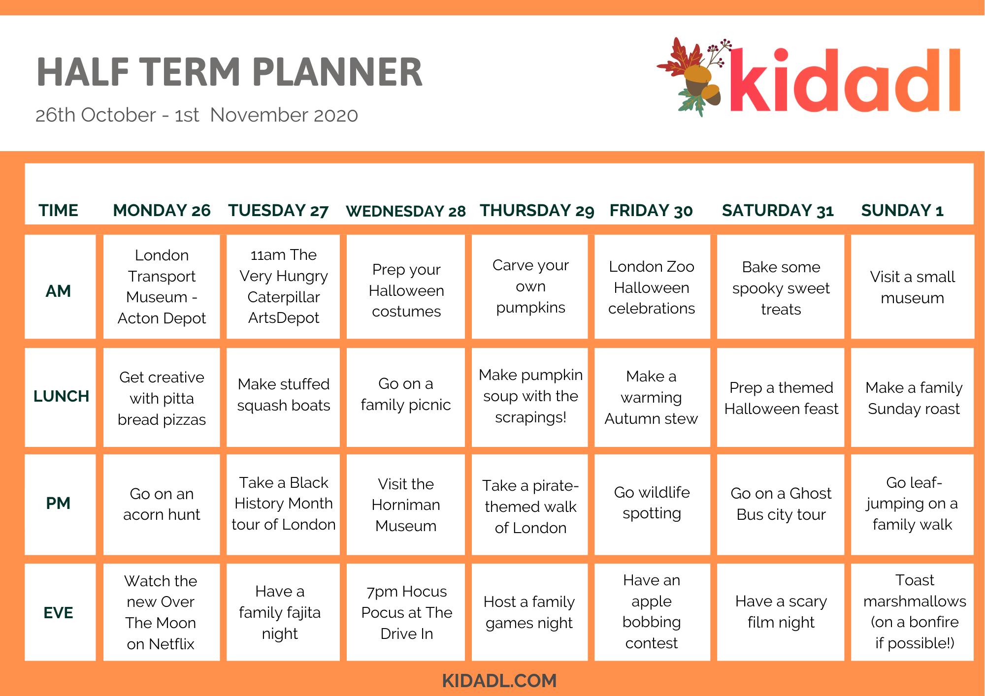 October Half Term Planner