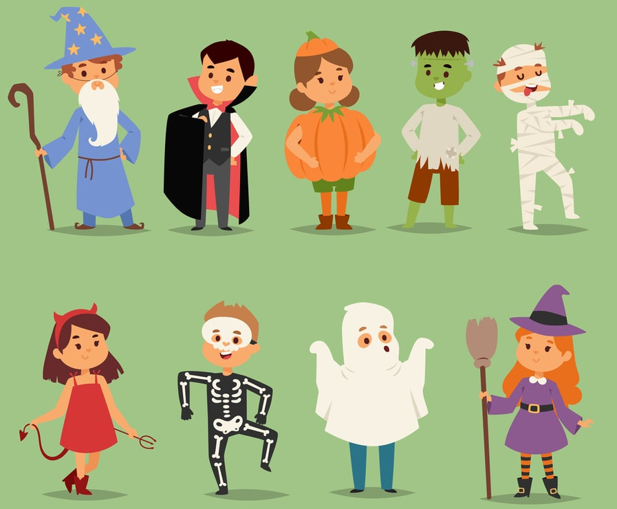 Animated characters wearing Halloween costumes which is inspiration for simple to make costumes at home.