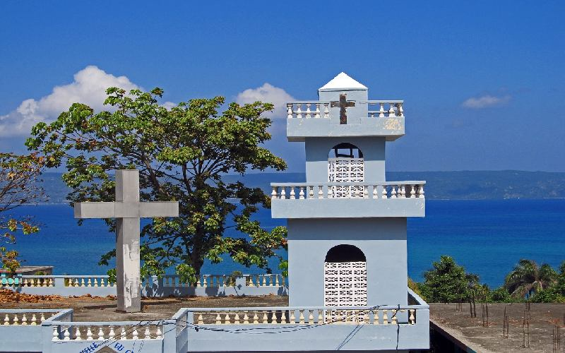 An old church in Haiti seashore.