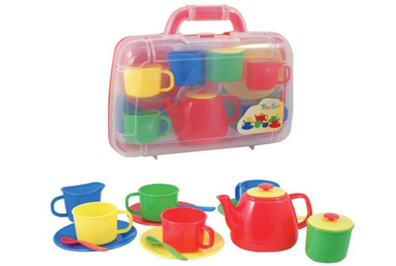 A budget friendly colourful tea set in a carry case.