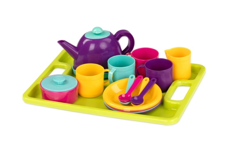 Tea set party for four with a colourful serving tray.