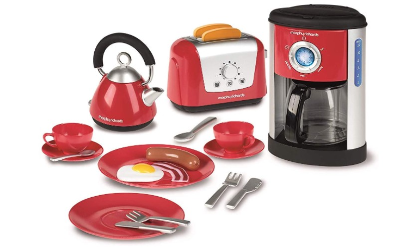 kitchen toy set with kettle, toaster and coffee machine.