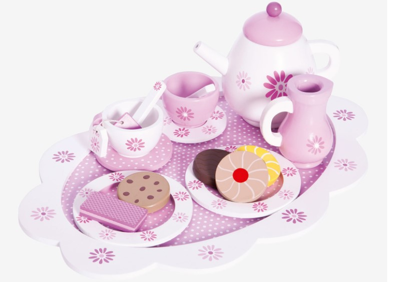 Perfect tea set for wooden sweet treats.