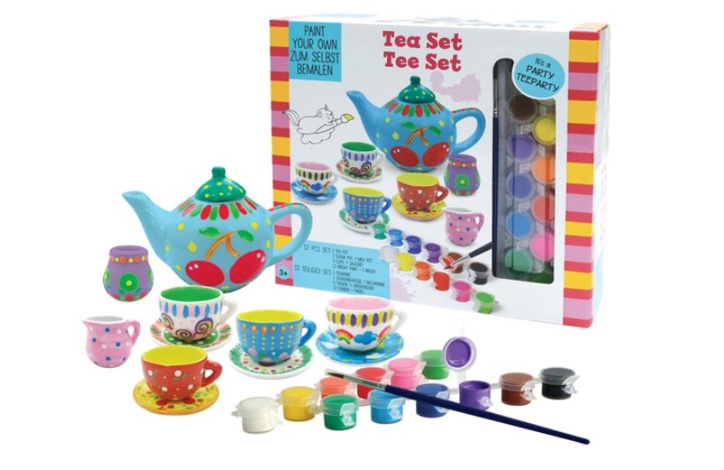 Paint your own tea set perfect for kids who loves arts and crafts.