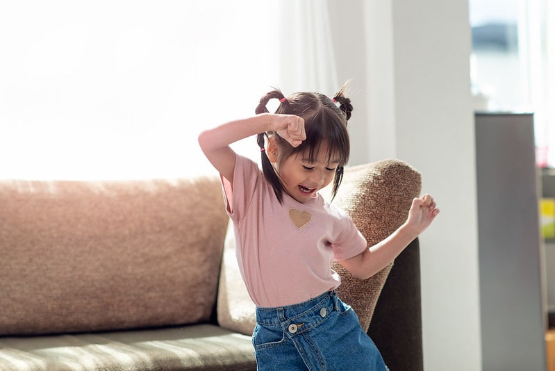 The kids can still keep fit and active even if they can't go outside - activities like dancing will keep them entertained.