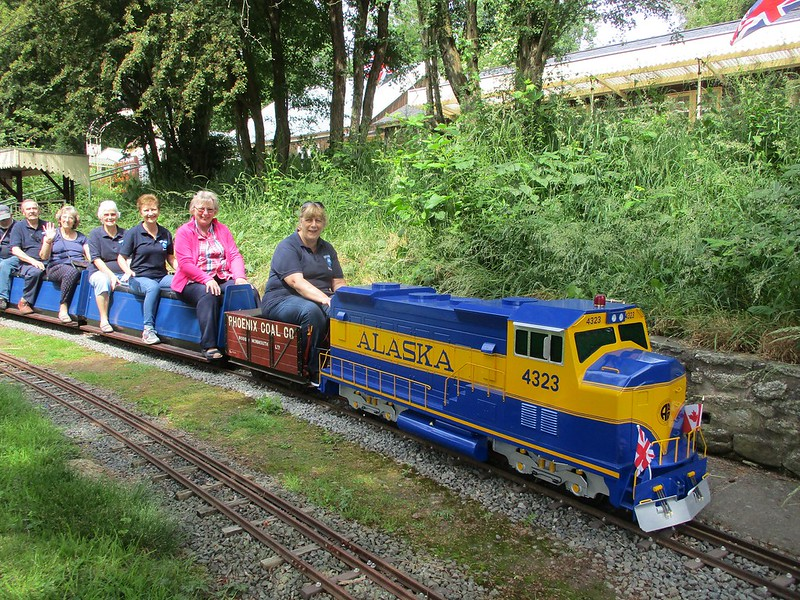 Train ride with people enjoying themselves at Broomy Hill Miniature Railway.
