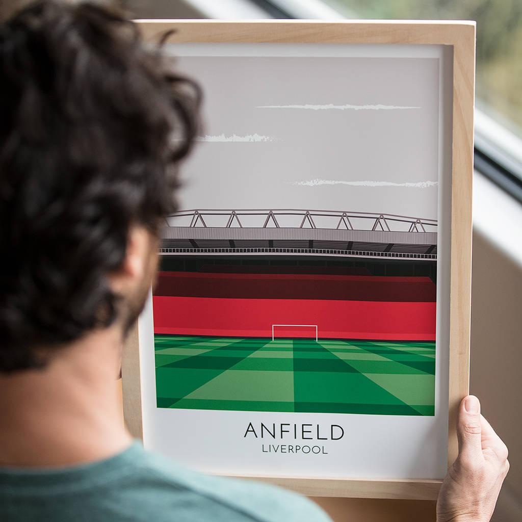 Modern print of football stadium.