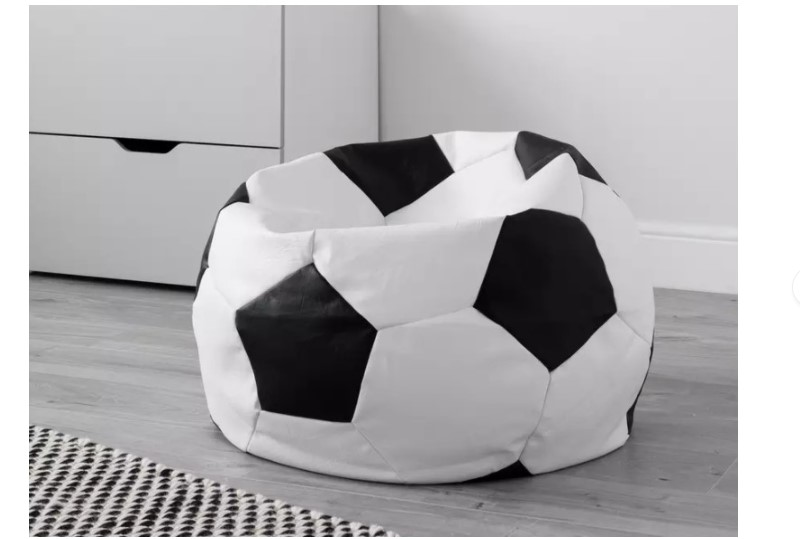 A large black and white bean bag.