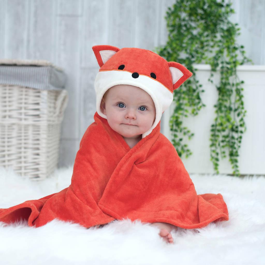 Personalised hooded baby towels.