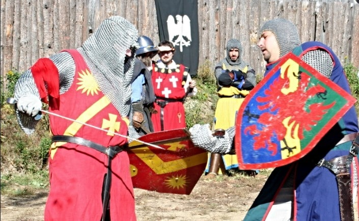 A re-enactment of the duel battles during Medieval era.