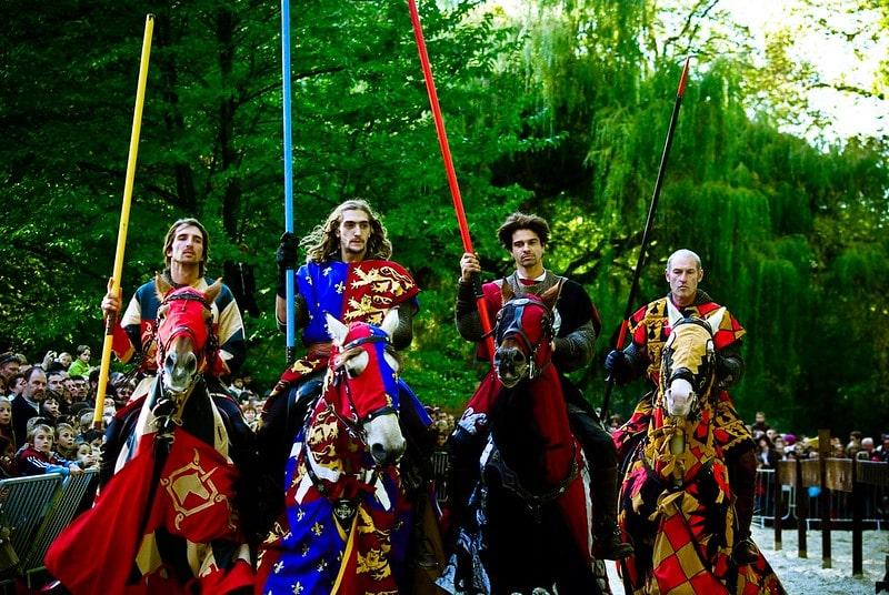 Medieval actors in battle war gears.