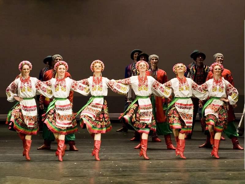 A bunch of graceful and happy Ukrainian dancers.
