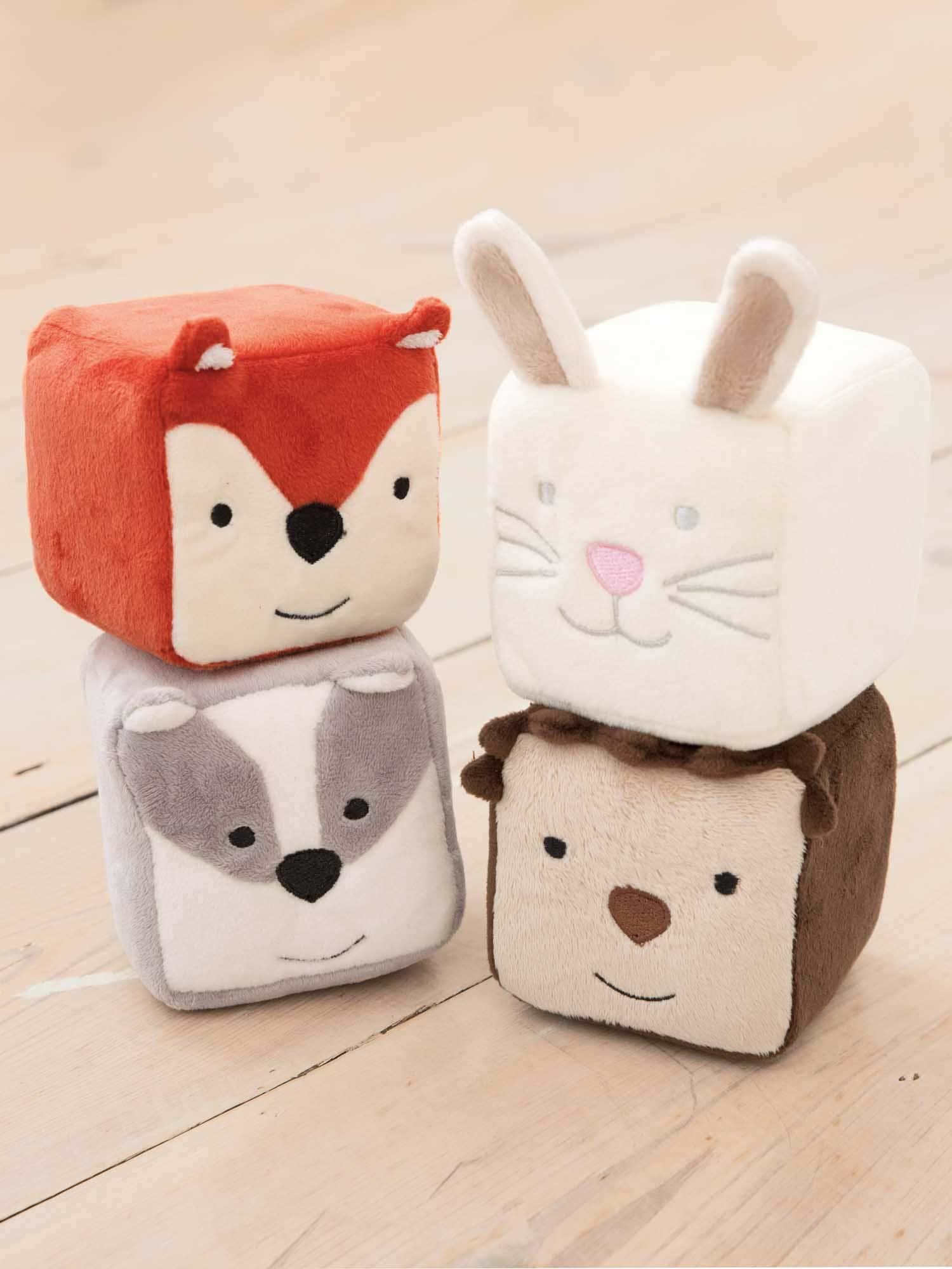 Set of adorable soft Woodland Cubes.