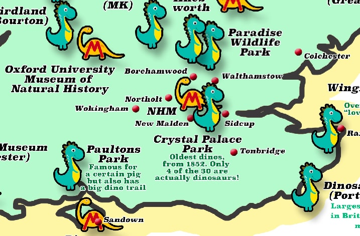 Close up of the Dinosaur Map created by Kidadl showing every dinosaur park, trail, dino golf-course and museum in Britain.