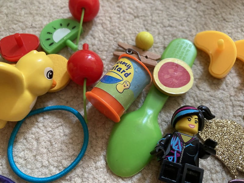 The random toys and collectables that can be found on a child's bedroom floor.