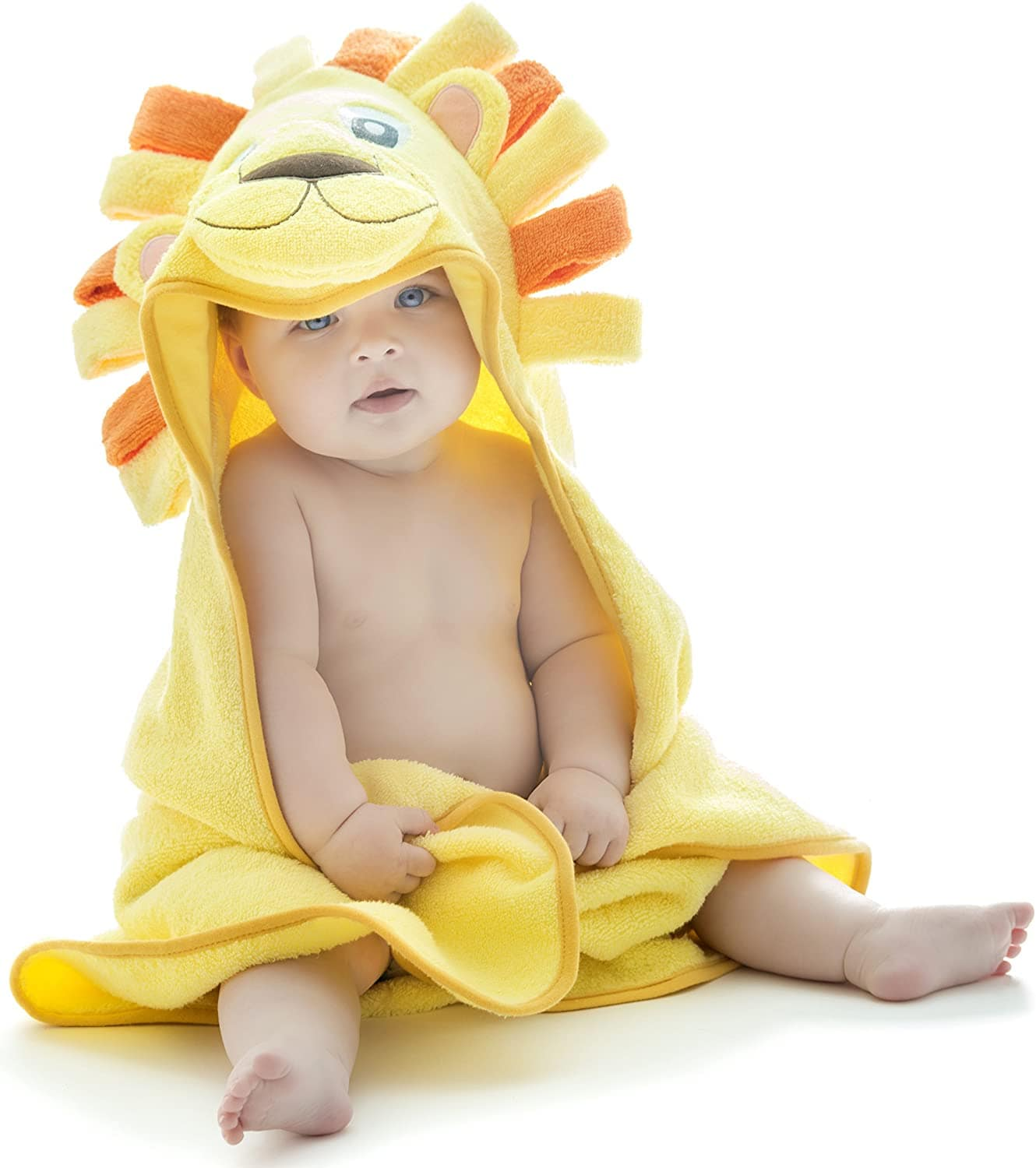Little Tinkers world lion hooded baby towel.