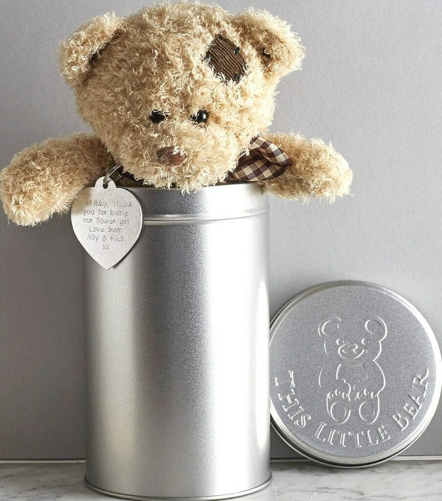 Adorable personalized Teddy bear in a tin is a unique gift for babies.