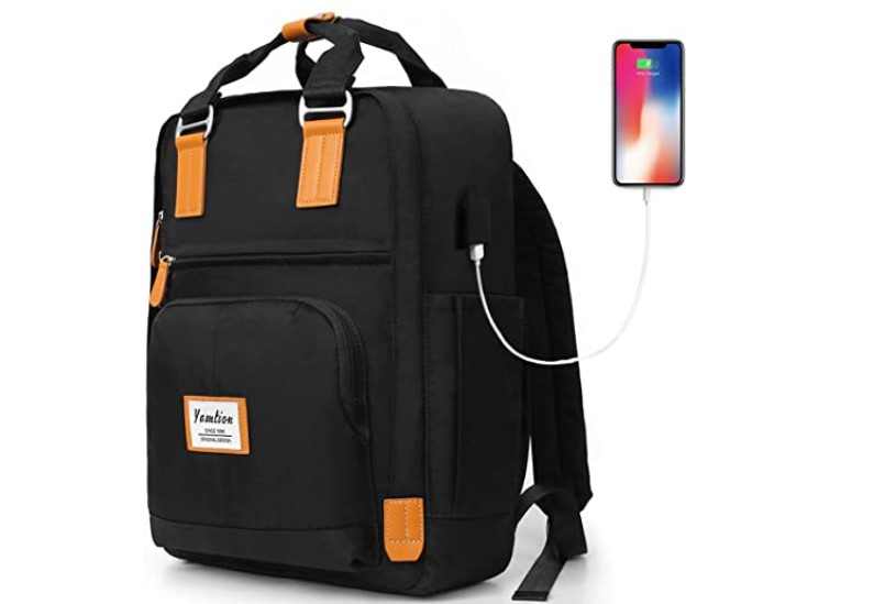 Laptop backpack with multiple compartments and USB port.