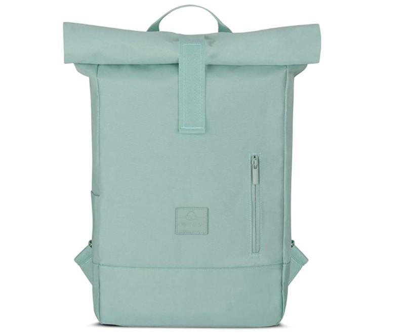 Waterproof roll-top laptop bag boasts a laptop sleeve.