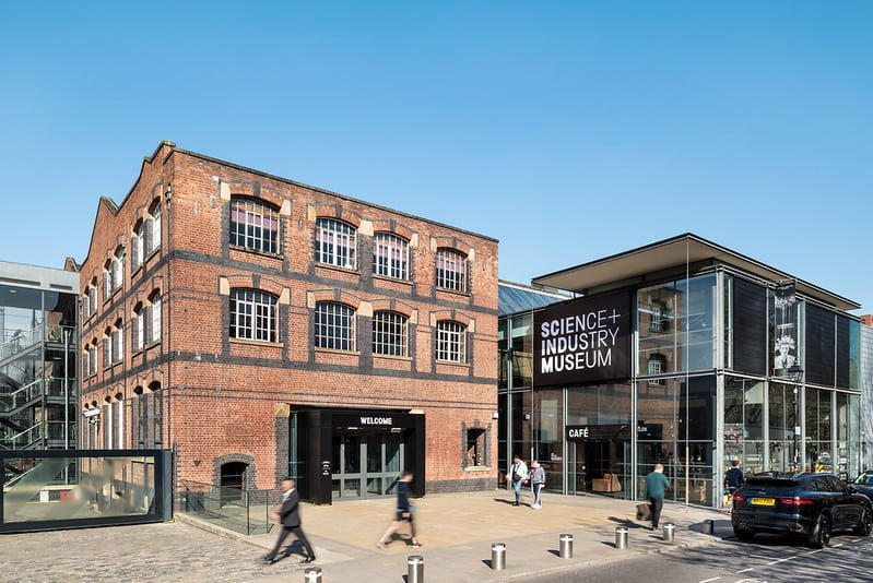 The main entrance of the Science and Industry Museum in Manchester from the outside.