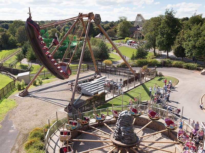 Overhead shot of the rides at Lightwater Valley Theme Park.