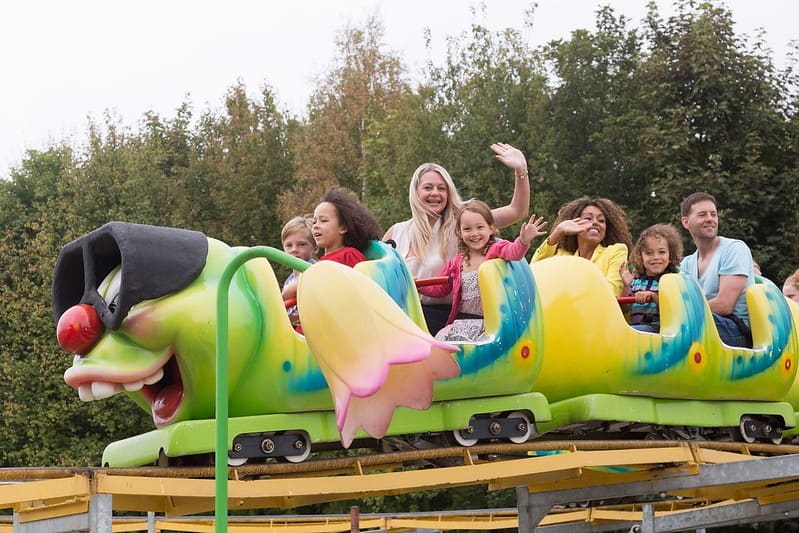 A children's roller coaster Lightwater Valley Theme Park.