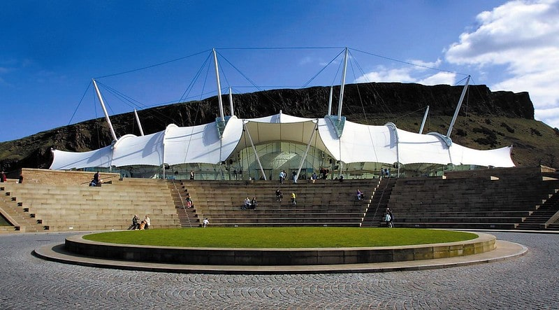 The exterior of the iconic tented structure Dynamic Earth in Edinburgh.
