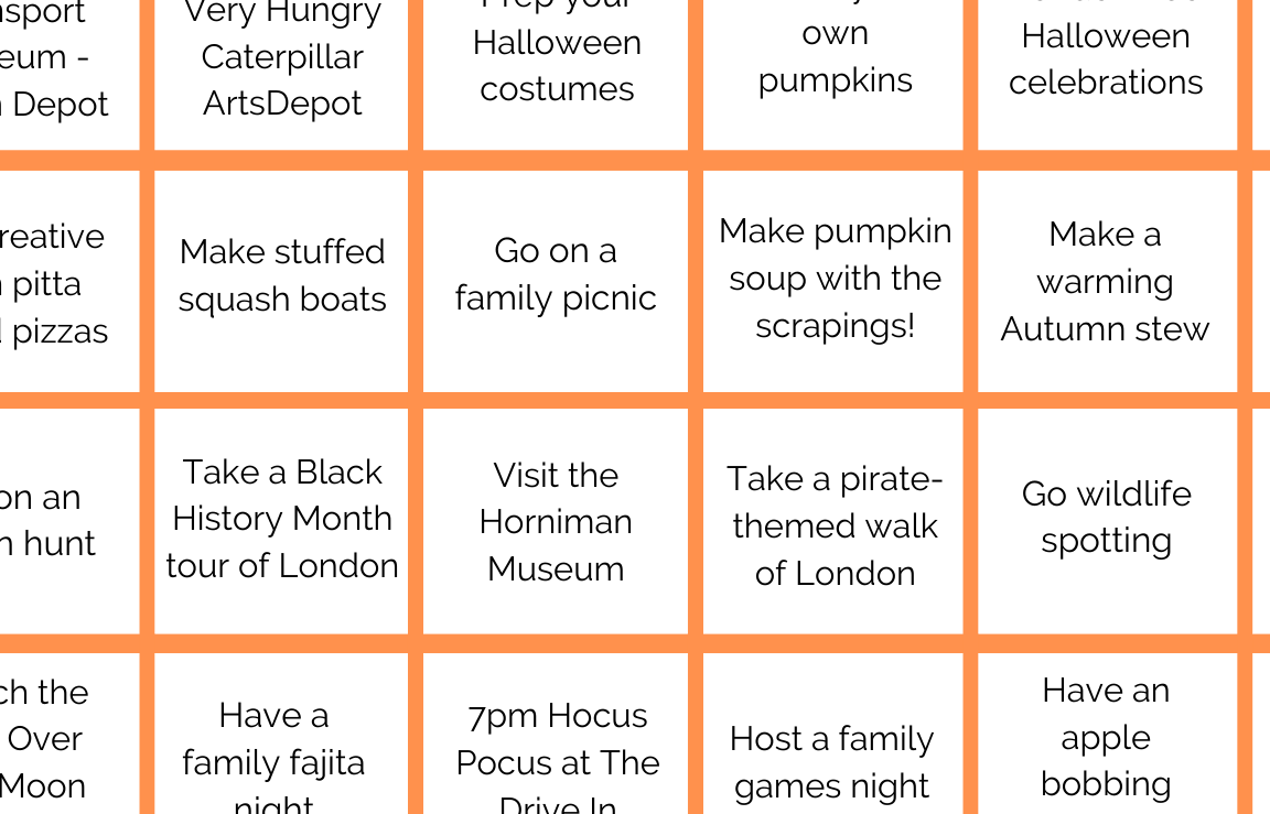 Close up of an orange and white half term planner.