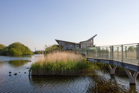 A shot of the Attenborough Nature Centre, which sits in the middle of Attenborough Nature Reserve.