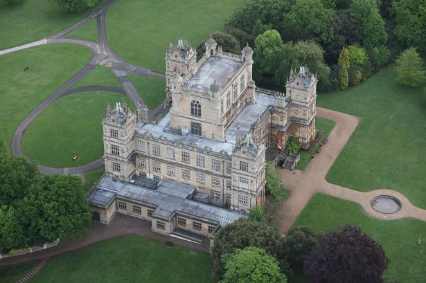 An overview picture of the exterior of Wollaton Hall, in Nottinghamshire.