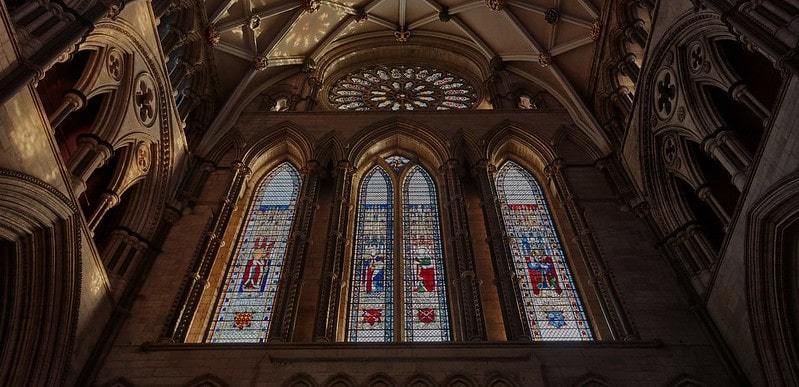The stained glass windows at York Minster.