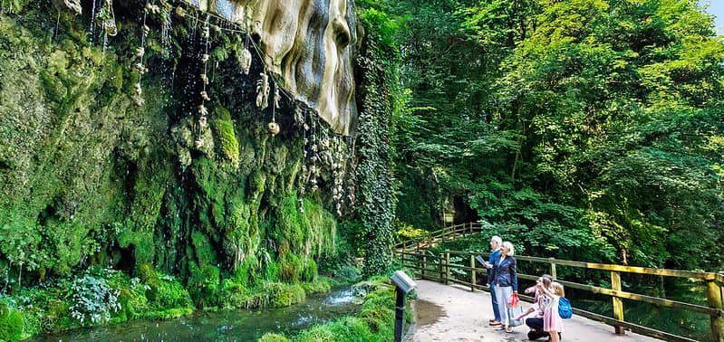 People visiting the Mother Shipton's Cave and well surrounded by trees.