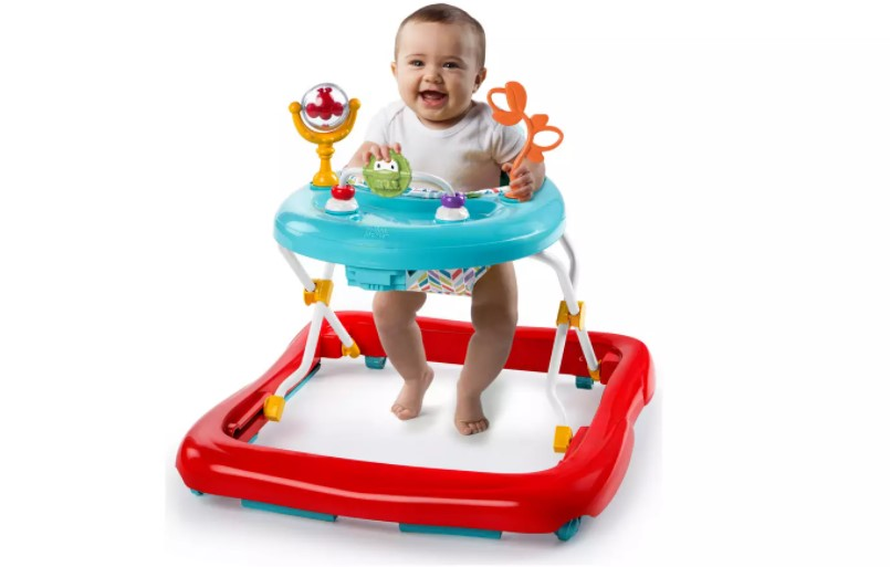 Baby walker with back support for baby's comfort.