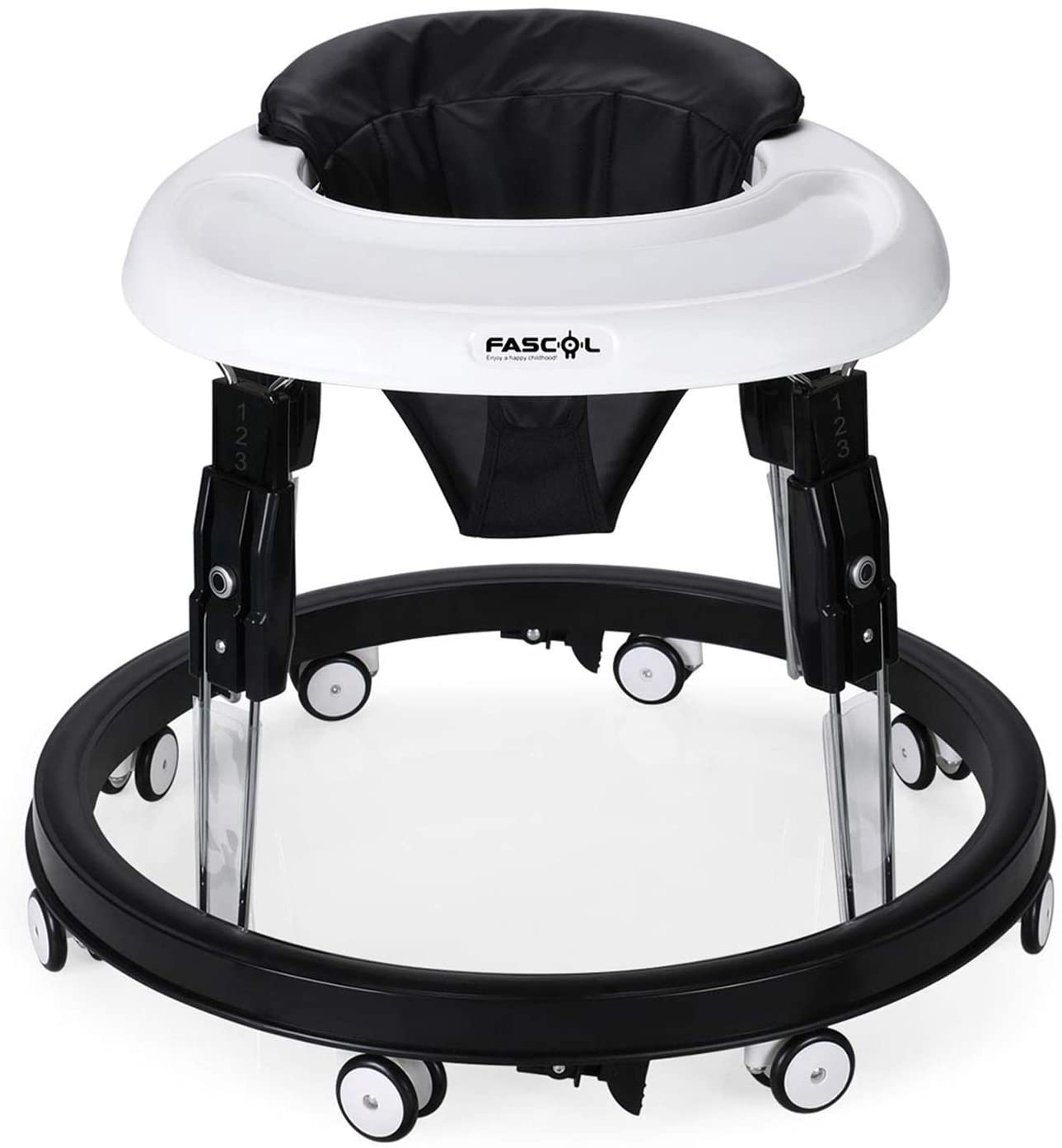 Height adjustable folding toddler walker with 8 wheels.