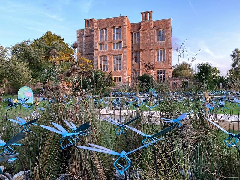 Doddington Hall and Gardens exterior and garden sculptures.