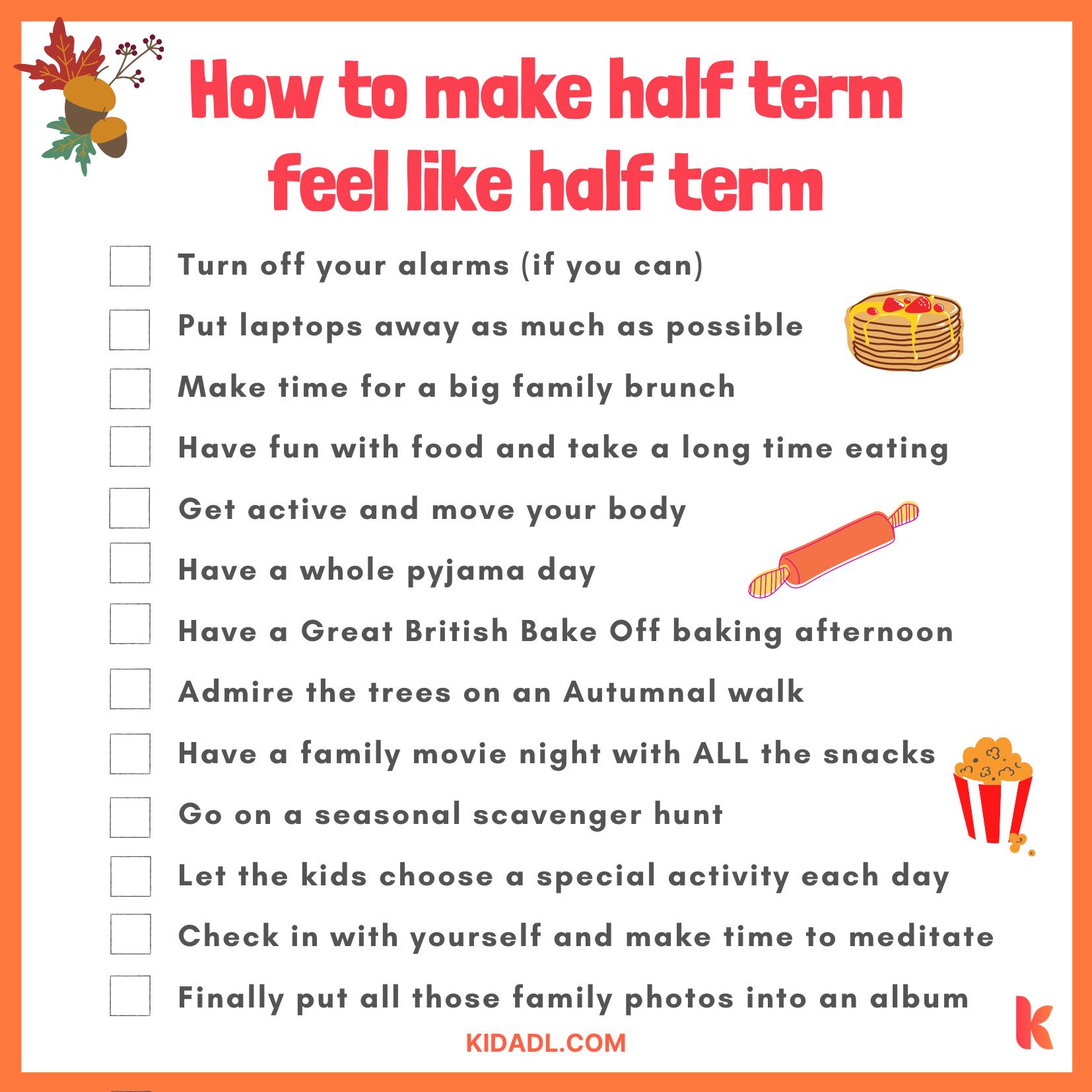 October half term checklist
